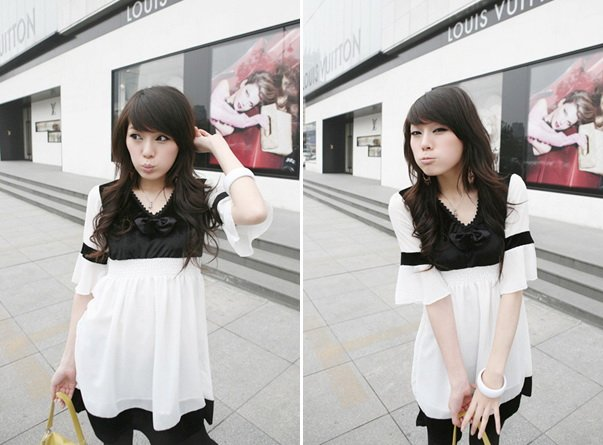Black & White Chiffon Baby Doll Short Dress With Bell Sleeves (Item no. C0808093)
