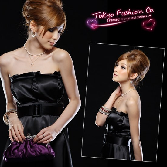 Black Satin Tube Dress With Belt (Item no. P09010415)