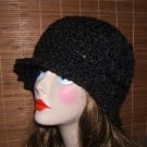 NEW CROCHET CLOCHE FLAPPER STYLE HAT BLACK