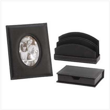Leather-Look Desk Accessories