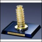 Crystal Leaning Tower of Pisa with 24kt gold leaf accents