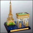 Crystal Eiffel Tower and Arc de Toimphe with 24kt gold accents