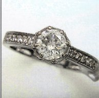 Ladies White Gold Ring with.1 Carat Center Diamond