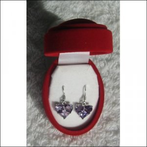 Silver Earring with Purple Heart Shaped CZ