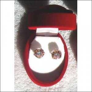 Silver Earring Studs with Gorgeous Yellow Cubic Zirconia gemstones