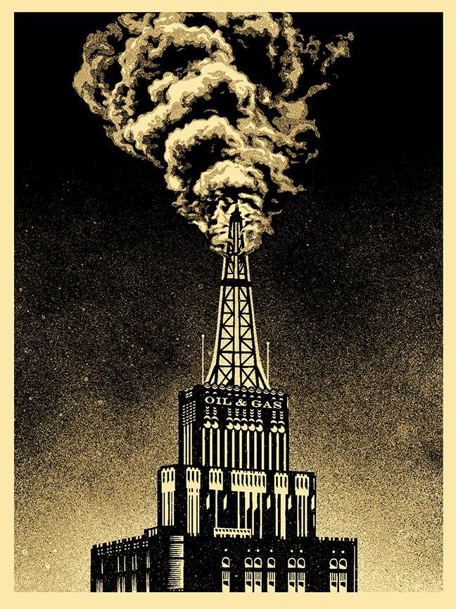 Shepard Fairey Obey Giant Oil & Gas Building Industrial Power Oil Rig Art Print