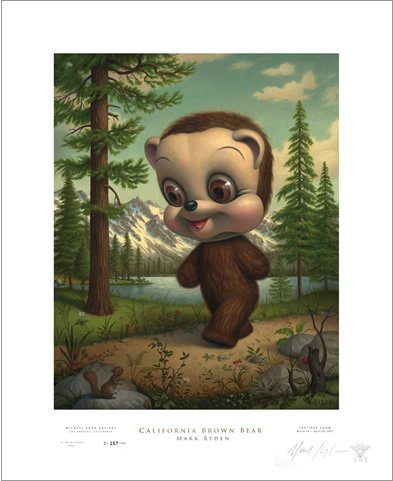 "Mark Ryden ""California Brown Bear"" Signed and Numbered Edition with Certificate of Authenticity"