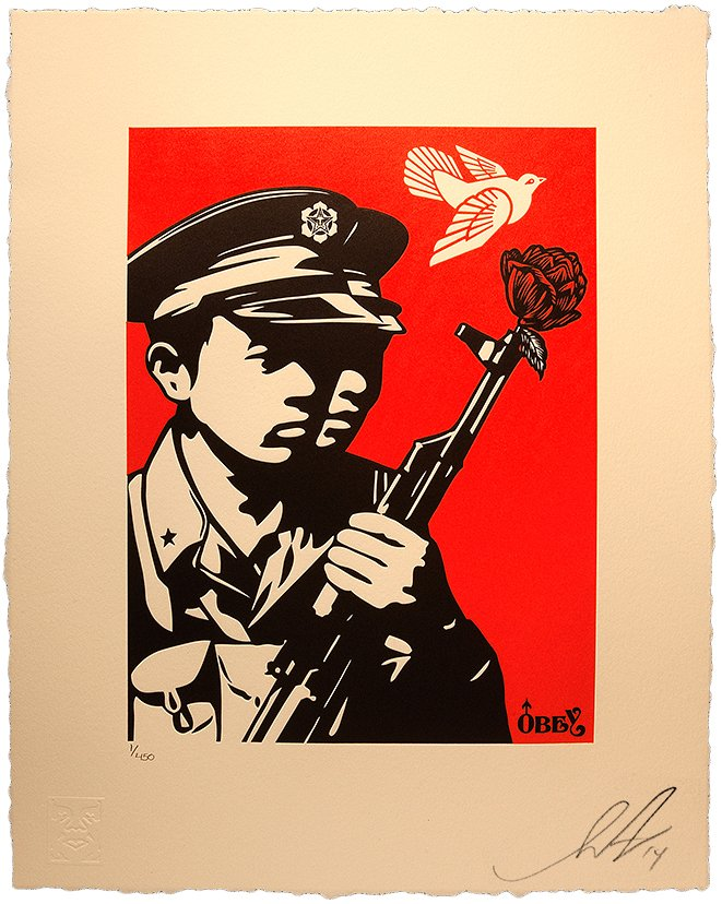 """Shepard Fairey  """"Chinese Soldiers"""" Letterpress 2014 Obey Giant"""