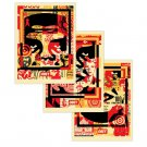 Shepard Fairey Obey Giant 3 Face Collage Signed Lithograph Print Set