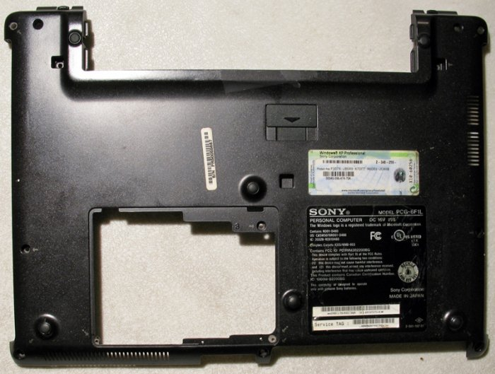 SONY VAIO VGN-S150 S170 S260 S360P BUTTON CASE w/ XP COA