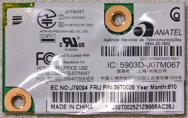 IBM THINKPAD LENOVO T43 R50 R51 X41 PCI BLUETOOTH / MODEM CARD 39T0026