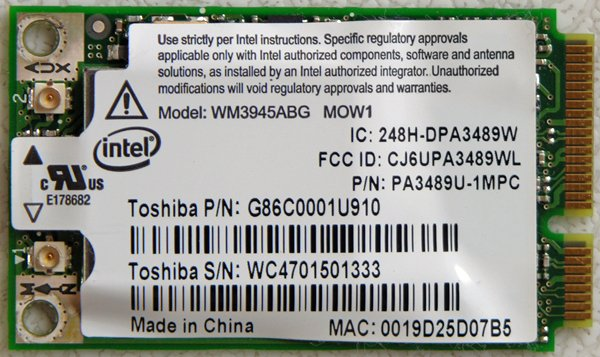 TOSHIBA SATELLITE A135-S4427 A / G WIRELESS WIFI PCI CARD K000044760