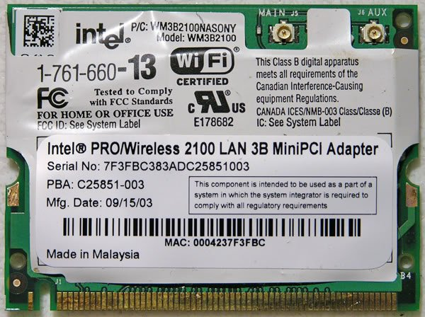 SONY Z1RAP Z1RA Z1WAP WiFi WIRELESS PCI CARD INTEL PRO