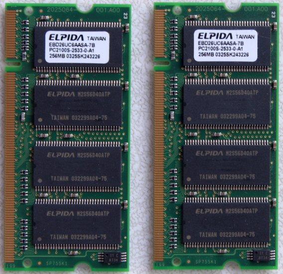 DELL INSPIRON 8500 8600 2200 5100 5150 512MB (2X 256MB) PC2100 LAPTOP RAM