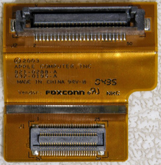 "MAC POWERBOOK G4 15"" 1.33GHz ALUMINUM DVD CDRW FLEX CABLE 821-0288-A"