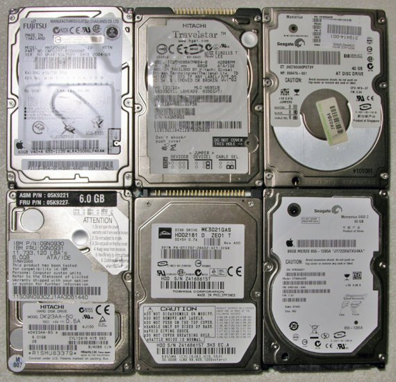 LOT OF 5 HARD DRIVE 160GB 80GB 40GB 20GB TOSHIBA SEAGATE FUJITSU IBM *FAULTY*