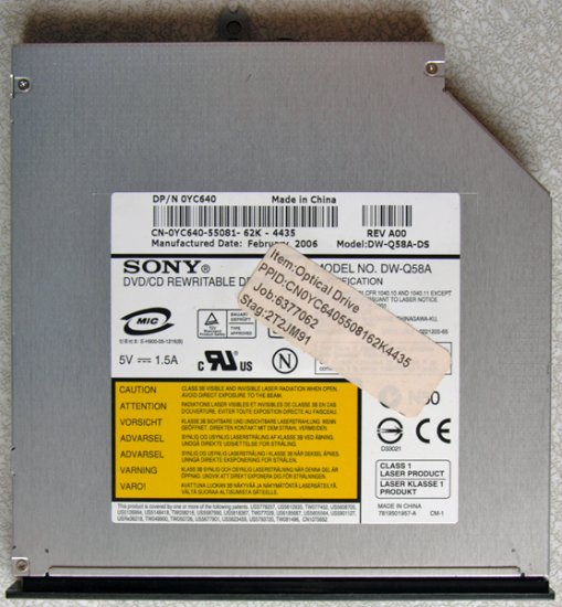 DELL INSPIRON 6000 E1505 6400 9400 E1705 DVD±RW DVDRW DRIVE YC640 DW-Q58A