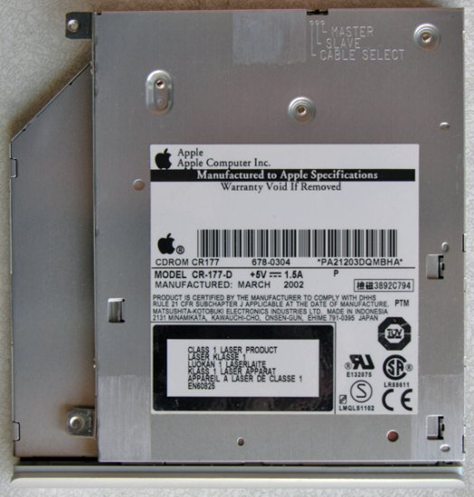 "GENUINE APPLE MAC APPLE iBOOK G3 12"" 14"" CD ROM DRIVE CR-177-D 687-0304"