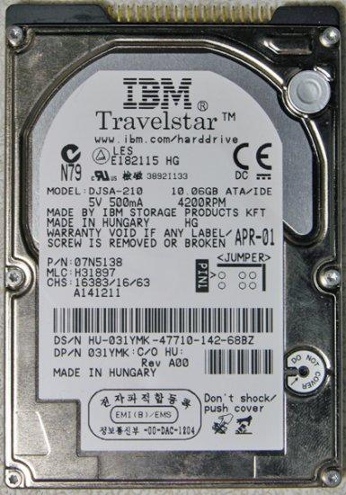 IBM THINKPAD T20 T21 T22 T23 10GB HD HARD DRIVE DJSA-210