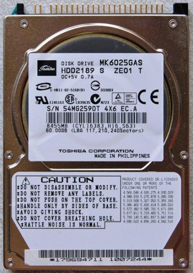 SONY S150 S170 S260 S360P 60GB HD HARD DRIVE MK6025GAS