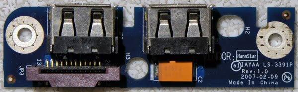 OEM TOSHIBA SATELLITE A135-s7403 DUEL USB PORT LS-3391P