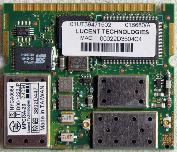 TOSHIBA 3000 PCI WIFI WIRELESS CARD 016680/A MPCI3A-20