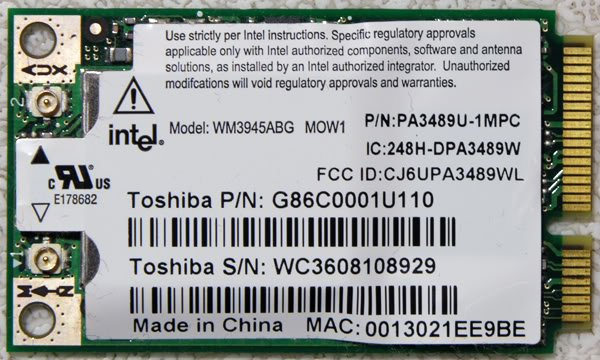 OEM TOSHIBA A105 WIRELESS WIFI PCI-e CARD G86C0001U110