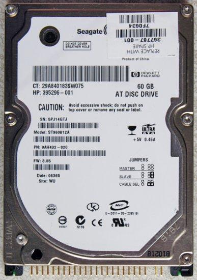 HP COMPAQ SEAGATE 60GB IDE LAPTOP HD HARD DRIVE 395296 367787