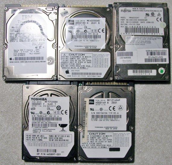 LOT OF 5 HARD DRIVE 320GB 40GB 30GB TOSHIBA IBM FUJITSU