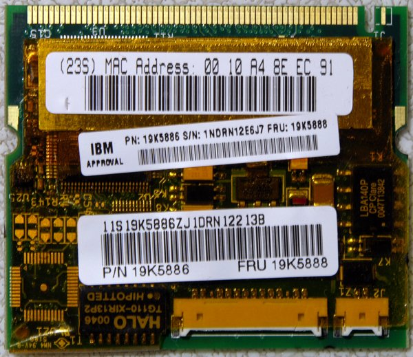 IBM THINKPAD T21 T22 T23 A30 A31 X20 PCI MODEM & NIC NETWORKING CARD 19K5888 / 19K5886