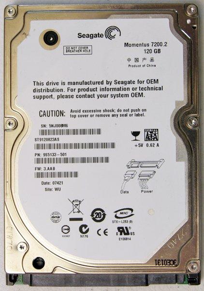 DELL VOSTRO 1525 1500 120GB SEAGATE ST9120823AS 7200RPM HD HARD DRIVE D803C