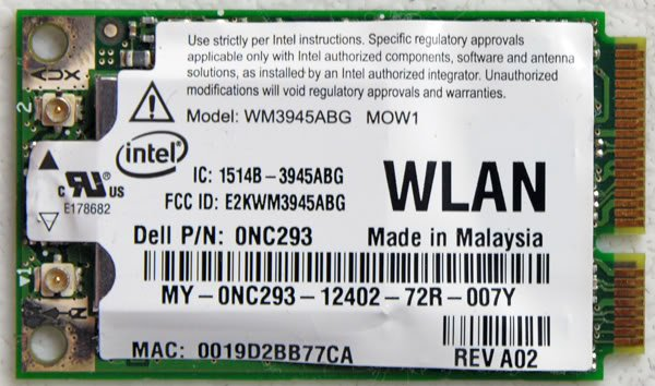 DELL 6400 1420 D620 D630 PCI WIFI WIRELESS CARD NC293