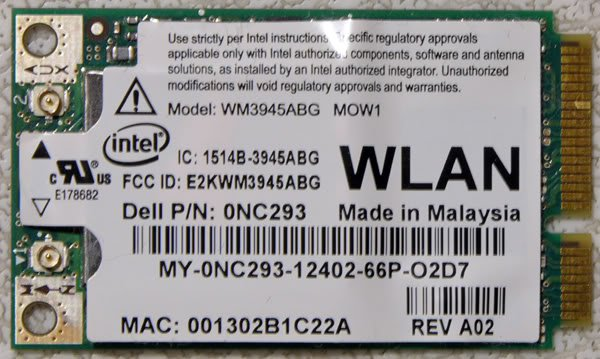 DELL D620 D630 E1705 1520 XPS M1210 WIRELESS WIFI NC293