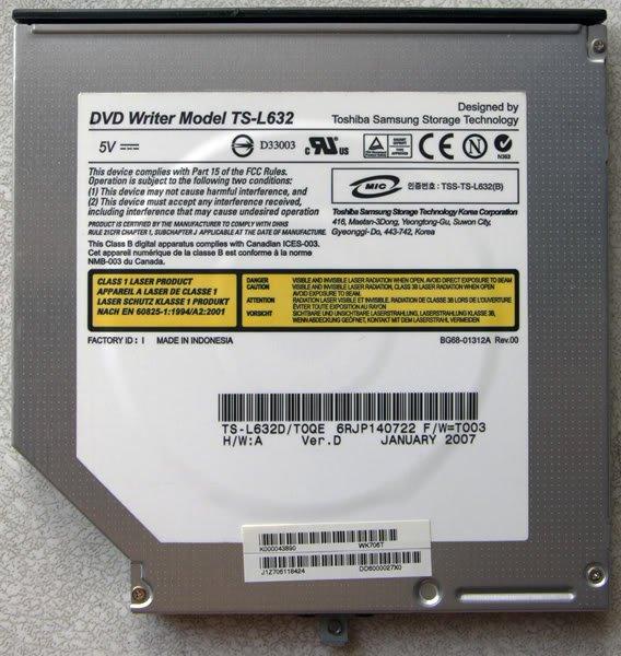 TOSHIBA SATELLITE A135 DVD±RW DRIVE TS-L632 K000043890