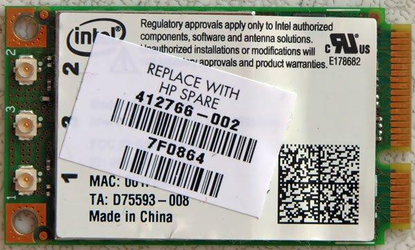 HP DV6000 DV6500 DV6700 MINI PCIe WIFI CARD 412766 -002
