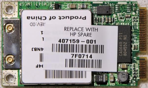 HP DV2000 DV6000 DV9000 MINI PCI WIFI CARD 459339-001