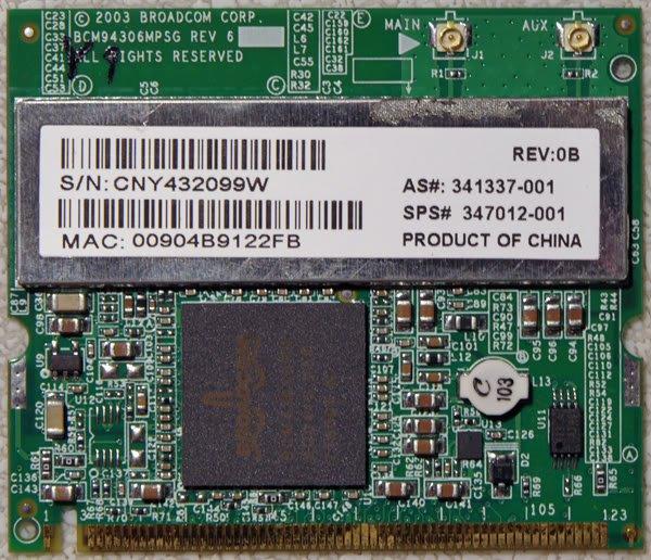 HP ZV5000 ZX5000 R3000 PCI WIRELESS CARD 54G 350129-001