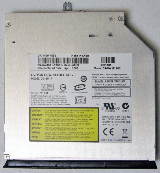 DELL VOSTRO 1400 1500 INSPIRON 1420 1520 DVD+RW CDRW DRIVE DS-8W1P WR091