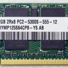 TOSHIBA R500 2GB HYNIX RAM 2Rx8 PC2-5300S-555-12 HYMP125S64 V000120860 667MHz