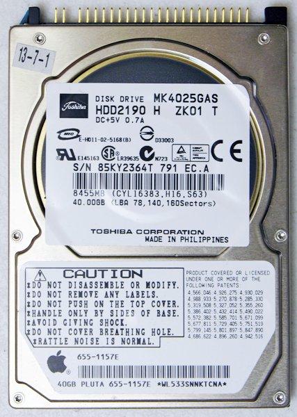 """APPLE MAC iBOOK POWERBOOK PISMO TOSHIBA 40GB HD HARD DRIVE 2.5"""" 9.5MM MK4025GAS"""