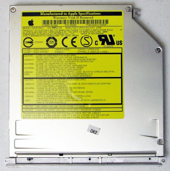 """APPLE MAC iBOOK POWERBOOK G4 12"""" 14"""" CDRW / DVD COMBO DRIVE CW-8124-C 678-0508D"""