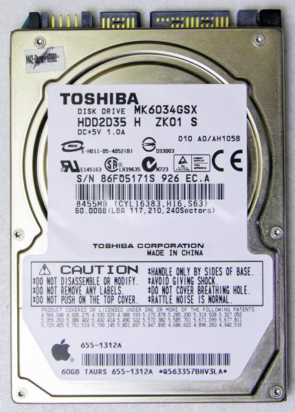 "GENUINE OEM APPLE MACBOOK / PRO 13"" 15"" 60GB HD HARD DRIVE MK6034GSX 655-1312A"