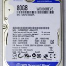 "WD WESTERN DIGITAL SCORPIO BLUE 80GB IDE HDD HD HARD DRIVE 2.5"" 9.5MM WD800BEVE"
