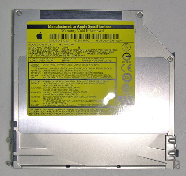 "MAC POWERBOOK G4 15"" 1.5GHz 1.67GHz CDRW / DVD COMBO DRIVE CW-8123-C 678-0487-C"