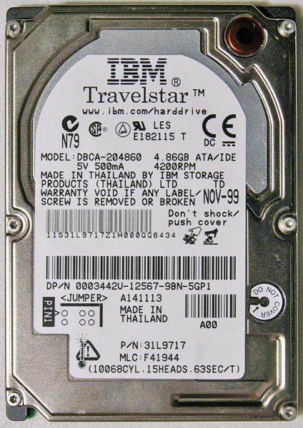 OEM TOSHIBA LIBRETTO 100CT 110CT 4.8GB IBM HD HARD DRIVE DBCA-204860 05K9115
