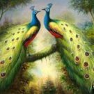 Peacock Show Oil Painting on Canvas  (22232552600)