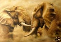 Elephants at Loggerheads Oil Painting on Canvas  (22232550890)