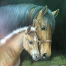 Mare and Foal Oil Painting on Canvas  (22232538825)