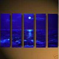 Blue Reflections Oil Painting on Canvas  Silhouette Ripples Waves(g66077057ttps)