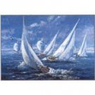 Yachts against the Wind Oil Painting on Canvas Sails Depth and Light (g66078948ttps)